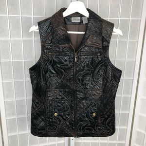 Chico's Faux Leather Embroidered Vest